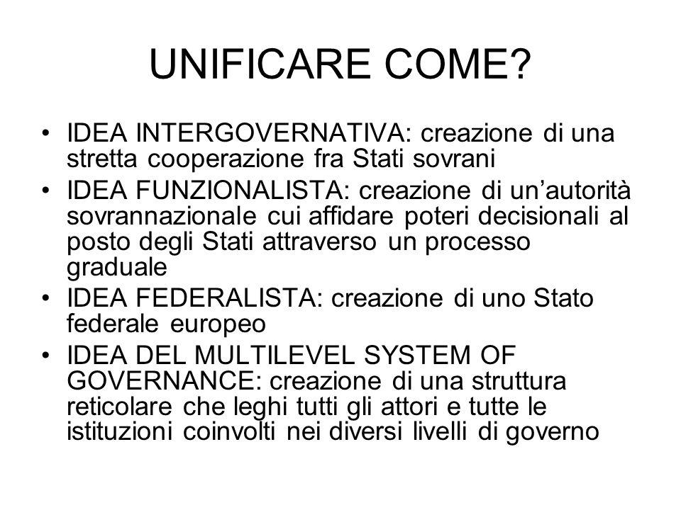 UNIFICARE COME? IDEA INTERGOVERNATIVA: creazione di una stretta cooperazione fra Stati sovrani IDEA FUNZIONALISTA: creazione di unautorità sovrannazio