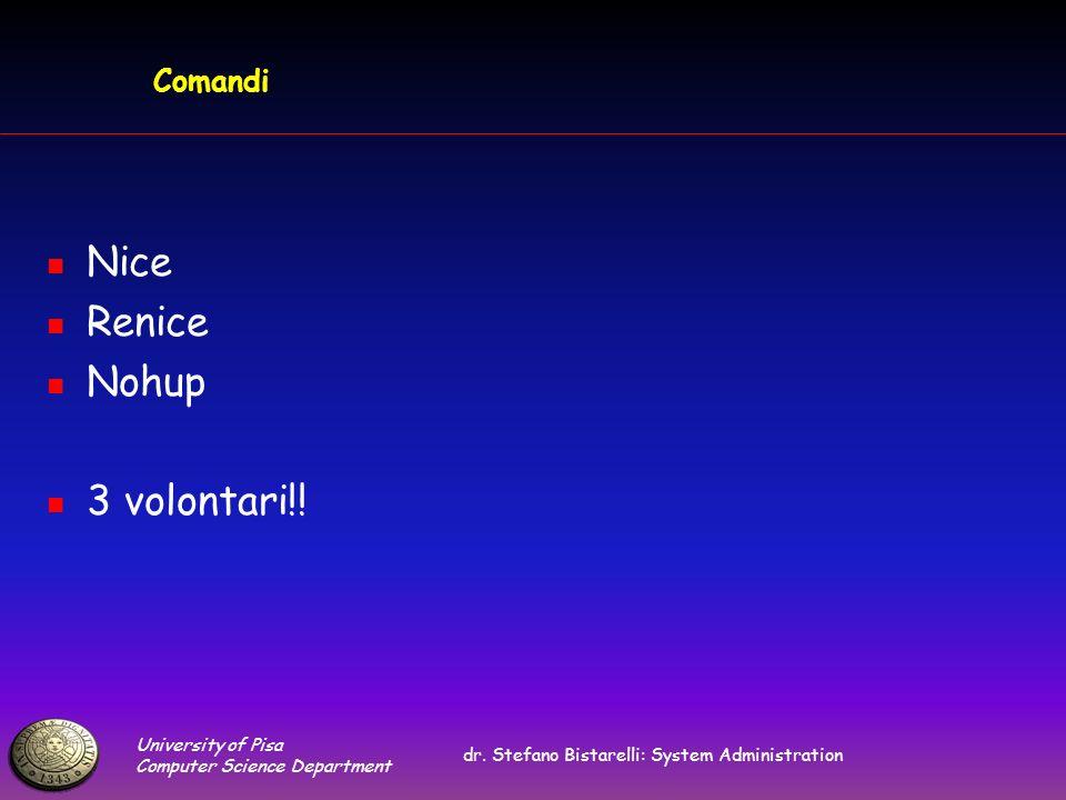 University of Pisa Computer Science Department dr. Stefano Bistarelli: System Administration Comandi Nice Renice Nohup 3 volontari!!