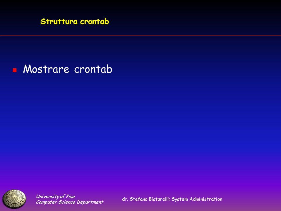 University of Pisa Computer Science Department dr. Stefano Bistarelli: System Administration Struttura crontab Mostrare crontab