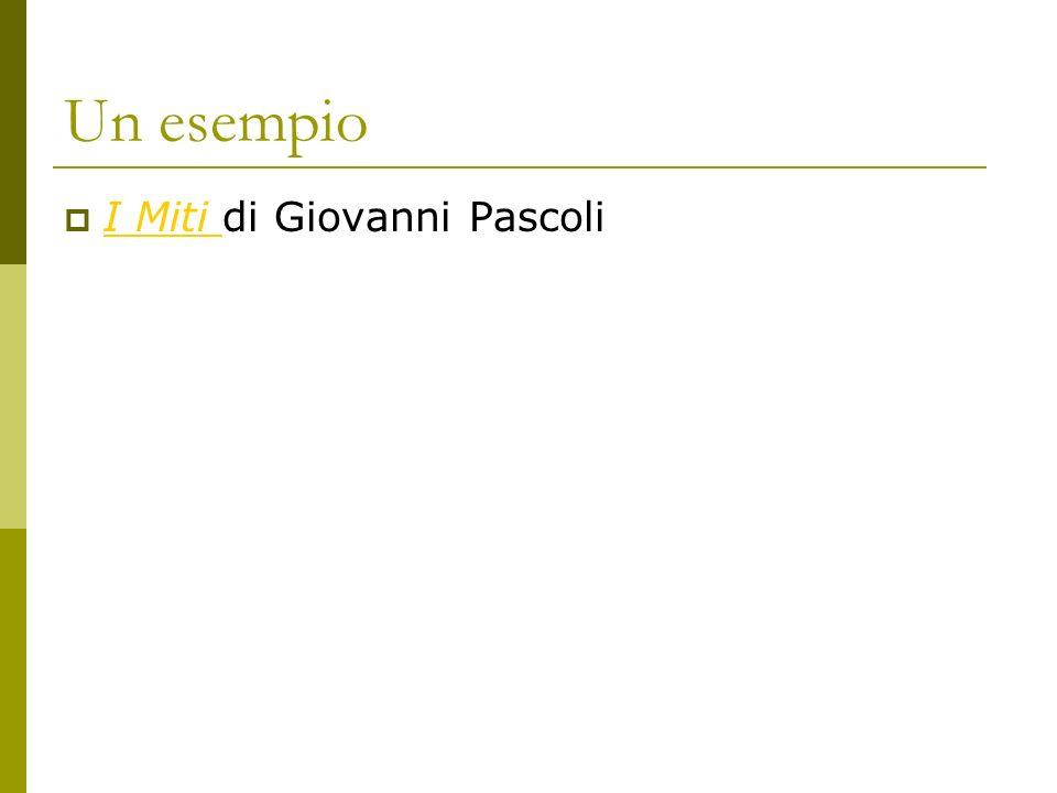 Un esempio I Miti di Giovanni Pascoli I Miti