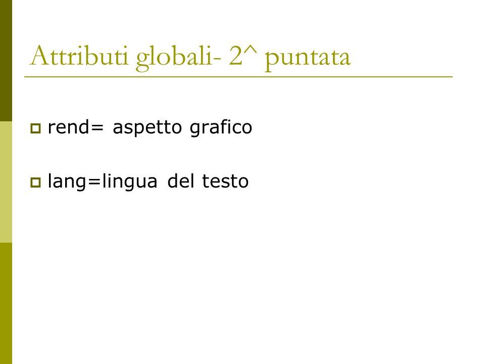 Attributi globali- 2^ puntata rend= aspetto grafico lang=lingua del testo