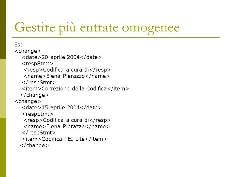 Gestire più entrate omogenee Es: 20 aprile 2004 Codifica a cura di Elena Pierazzo Correzione della Codifica 15 aprile 2004 Codifica a cura di Elena Pi
