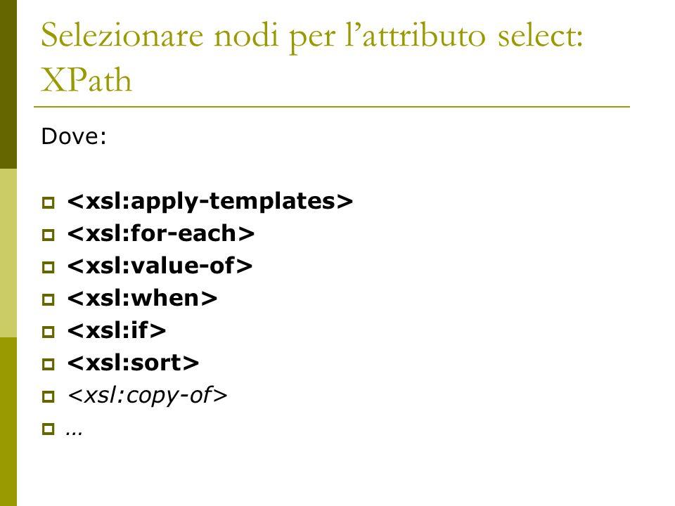 Selezionare nodi per lattributo select: XPath Dove: …