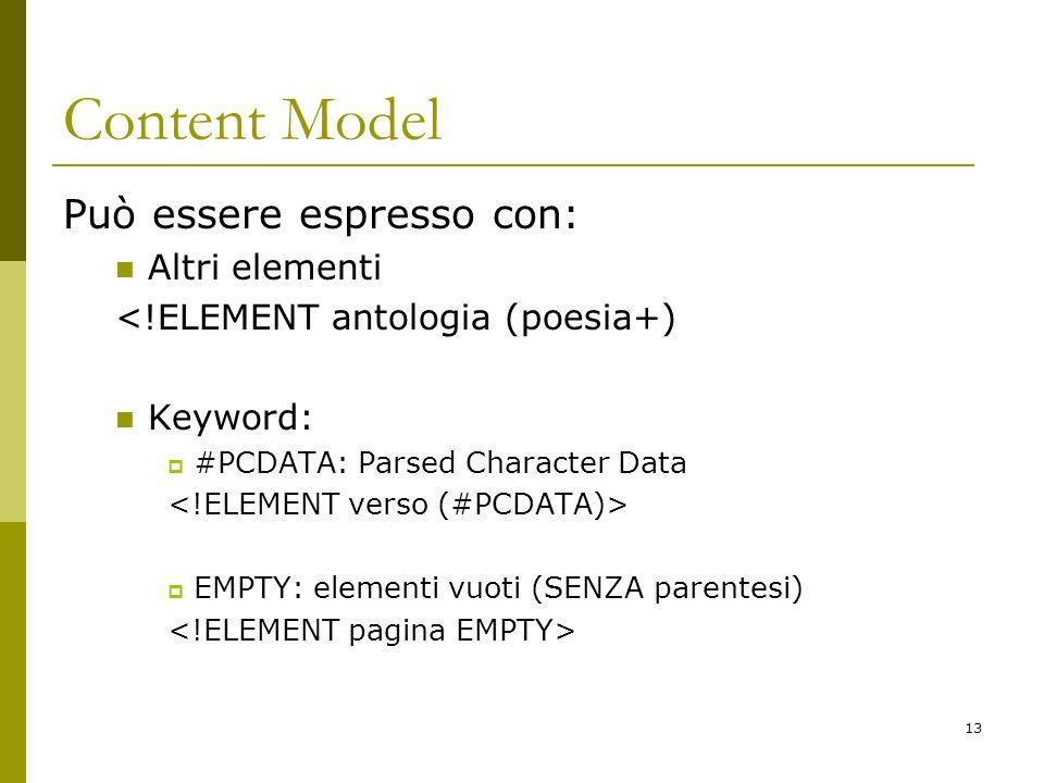 13 Content Model Può essere espresso con: Altri elementi <!ELEMENT antologia (poesia+) Keyword: #PCDATA: Parsed Character Data EMPTY: elementi vuoti (SENZA parentesi)