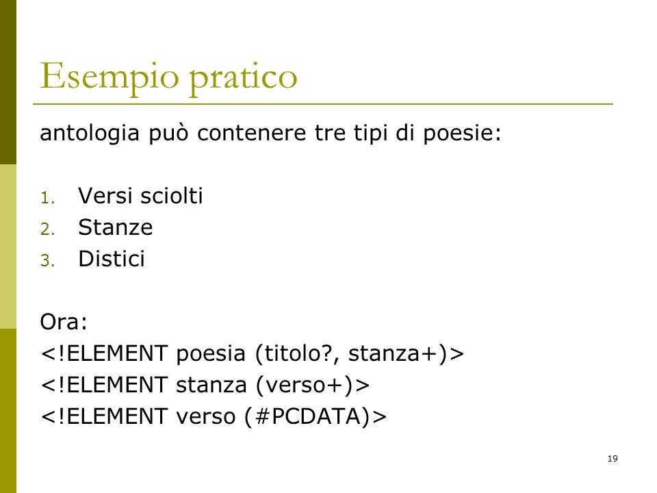 19 Esempio pratico antologia può contenere tre tipi di poesie: 1.