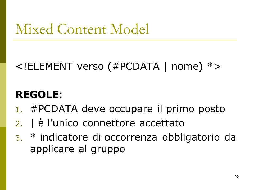 22 Mixed Content Model REGOLE REGOLE: 1. #PCDATA deve occupare il primo posto 2.