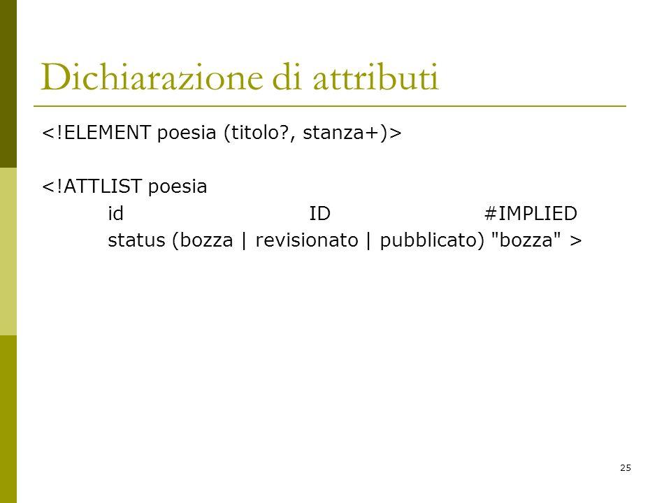 25 Dichiarazione di attributi <!ATTLIST poesia id ID #IMPLIED status (bozza | revisionato | pubblicato) bozza >