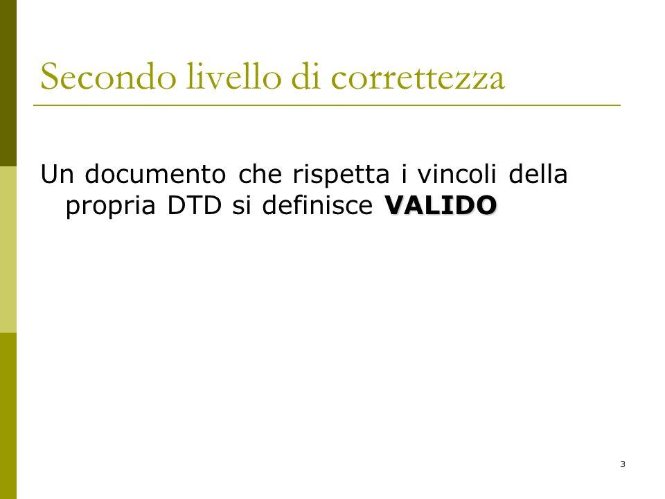 3 Secondo livello di correttezza VALIDO Un documento che rispetta i vincoli della propria DTD si definisce VALIDO