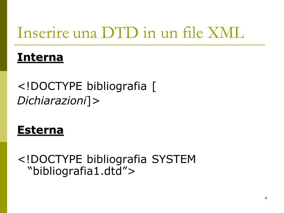 4 Inserire una DTD in un file XML Interna <!DOCTYPE bibliografia [ Dichiarazioni]>Esterna