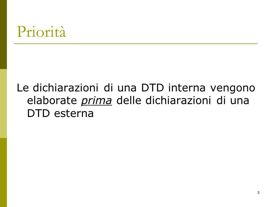 5 Priorità Le dichiarazioni di una DTD interna vengono elaborate prima delle dichiarazioni di una DTD esterna