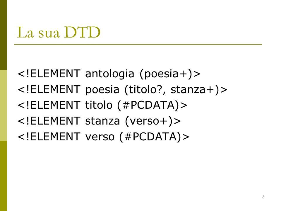 28 Valore attributo <!ATTLIST poesia id ID #IMPLIED status (bozza   revisionato   pubblicato) bozza > 1.