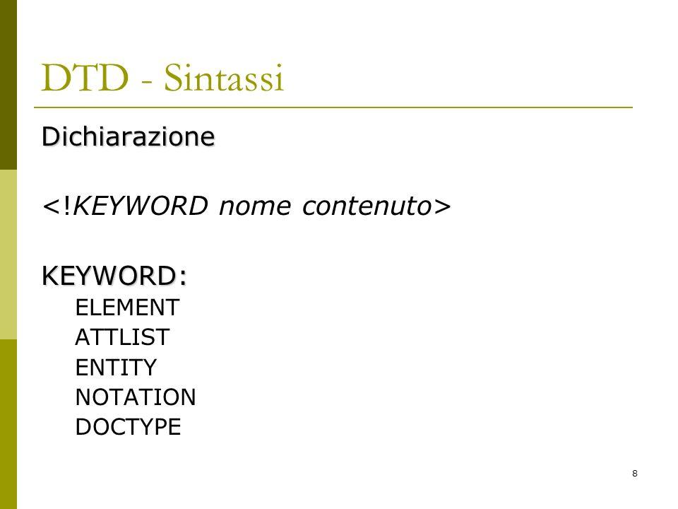 8 DTD - Sintassi Dichiarazione KEYWORD: ELEMENT ATTLIST ENTITY NOTATION DOCTYPE