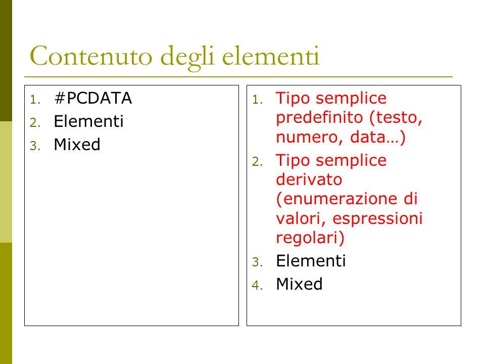 Contenuto degli elementi 1. #PCDATA 2. Elementi 3.