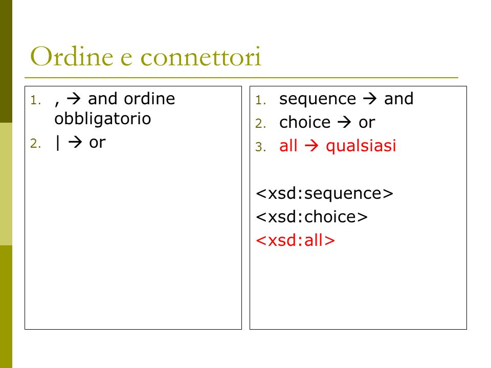 Ordine e connettori 1., and ordine obbligatorio 2. | or 1. sequence and 2. choice or 3. all qualsiasi