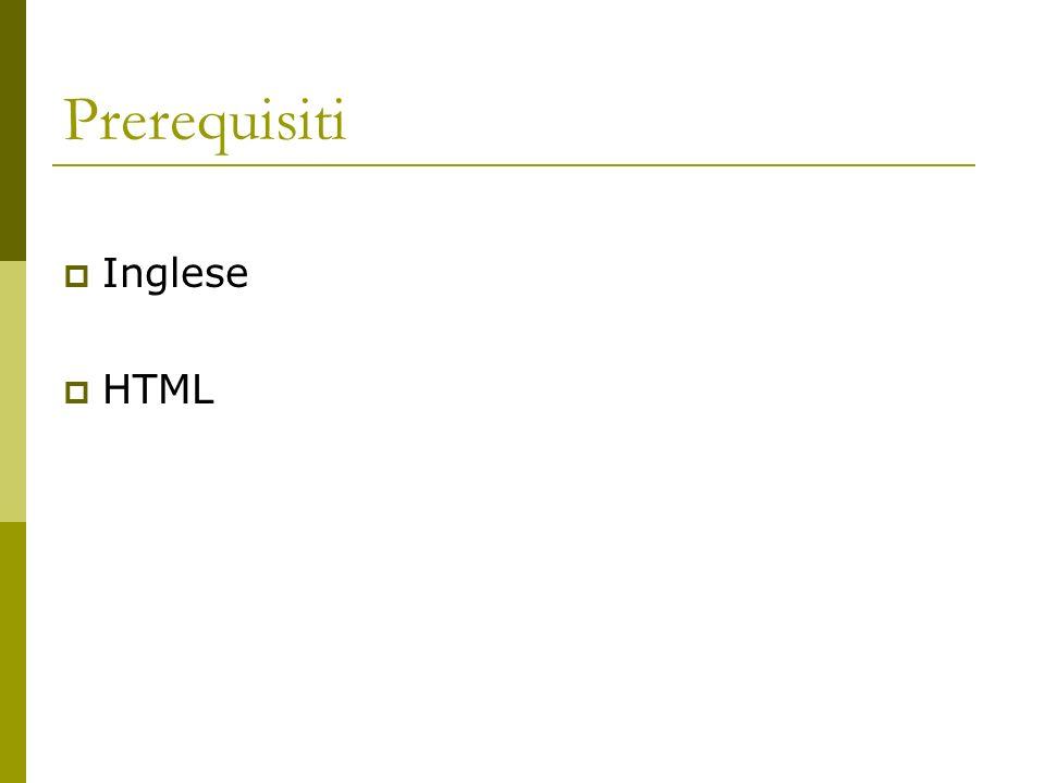 Prerequisiti Inglese HTML