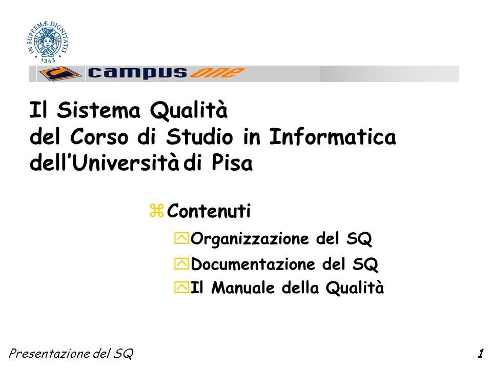 Presentazione del SQ1 zContenuti yOrganizzazione del SQ yDocumentazione del SQ yIl Manuale della Qualità Il Sistema Qualità del Corso di Studio in Informatica dellUniversità di Pisa