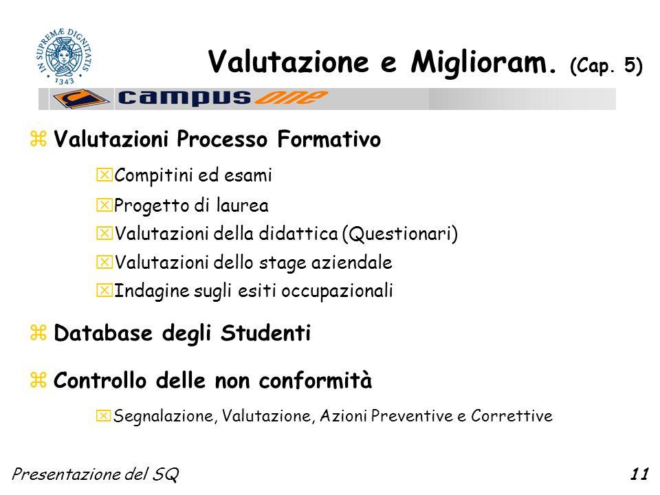 Presentazione del SQ11 Valutazione e Miglioram. (Cap.