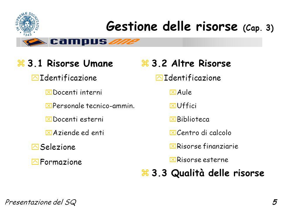 Presentazione del SQ6 Proc.formativo e servizi (Cap.