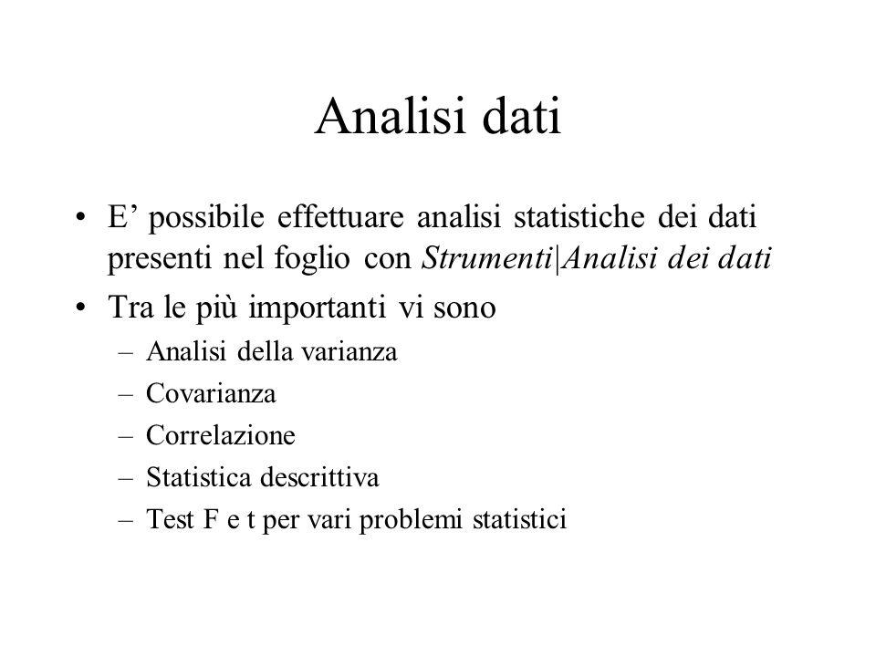 Analisi dati E possibile effettuare analisi statistiche dei dati presenti nel foglio con Strumenti|Analisi dei dati Tra le più importanti vi sono –Analisi della varianza –Covarianza –Correlazione –Statistica descrittiva –Test F e t per vari problemi statistici