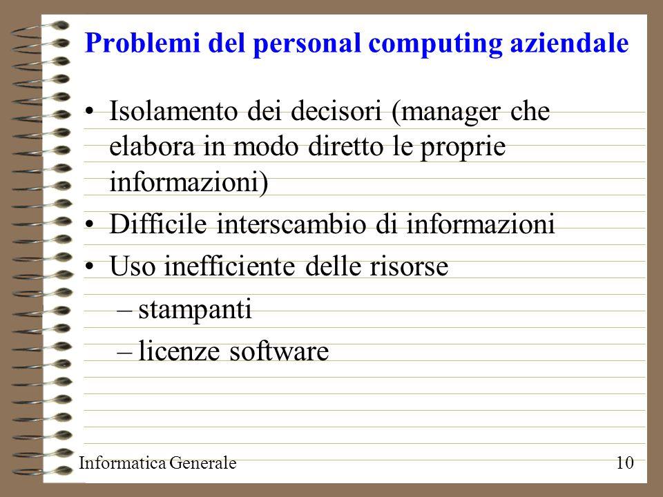 Informatica Generale10 Problemi del personal computing aziendale Isolamento dei decisori (manager che elabora in modo diretto le proprie informazioni)