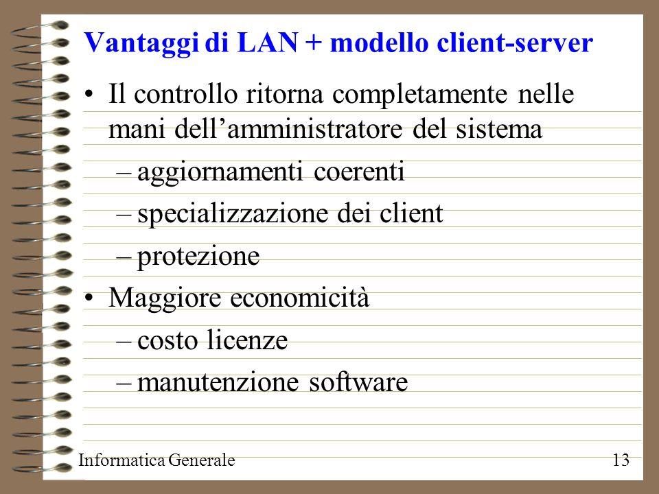 Informatica Generale13 Vantaggi di LAN + modello client-server Il controllo ritorna completamente nelle mani dellamministratore del sistema –aggiornam