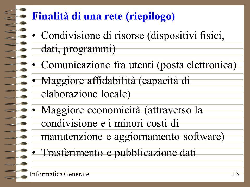 Informatica Generale15 Finalità di una rete (riepilogo) Condivisione di risorse (dispositivi fisici, dati, programmi) Comunicazione fra utenti (posta