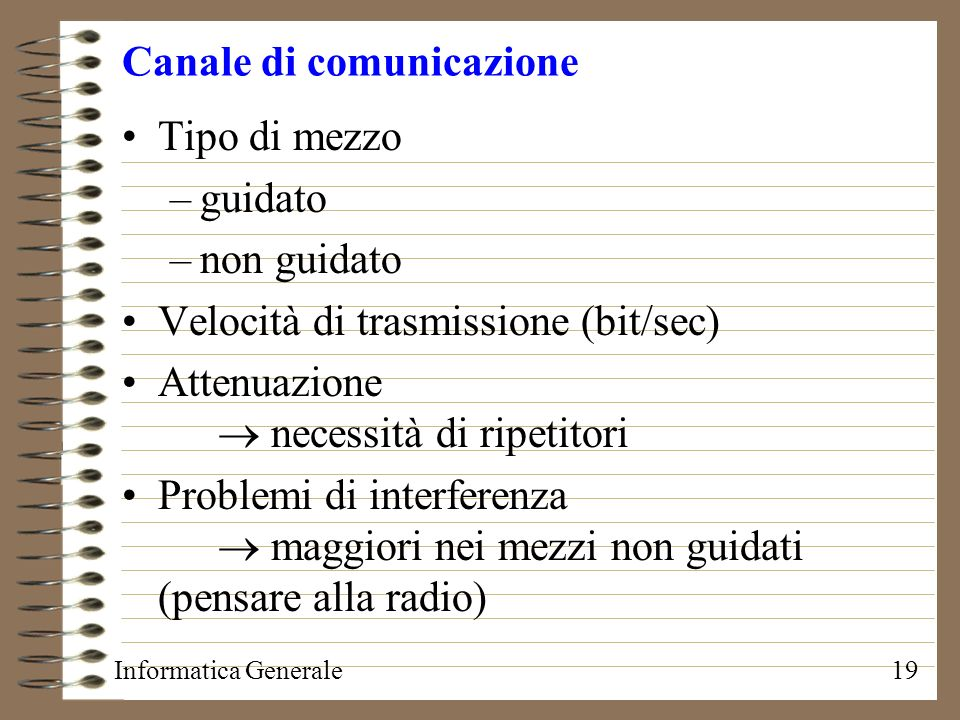 Informatica Generale19 Canale di comunicazione Tipo di mezzo –guidato –non guidato Velocità di trasmissione (bit/sec) Attenuazione necessità di ripeti