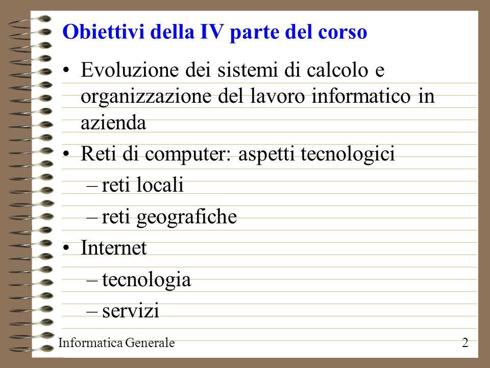 Informatica Generale3 Evoluzione dei sistemi di calcolo Local batch (elaborazione locale a lotti) Remote batch (elaborazione remota a lotti) Time sharing (ripartizione di tempo) Personal computing LAN (Local Area Network = rete locale) Internet, intranet, extranet