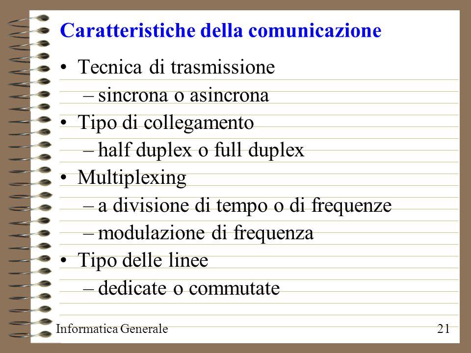 Informatica Generale21 Caratteristiche della comunicazione Tecnica di trasmissione –sincrona o asincrona Tipo di collegamento –half duplex o full dupl
