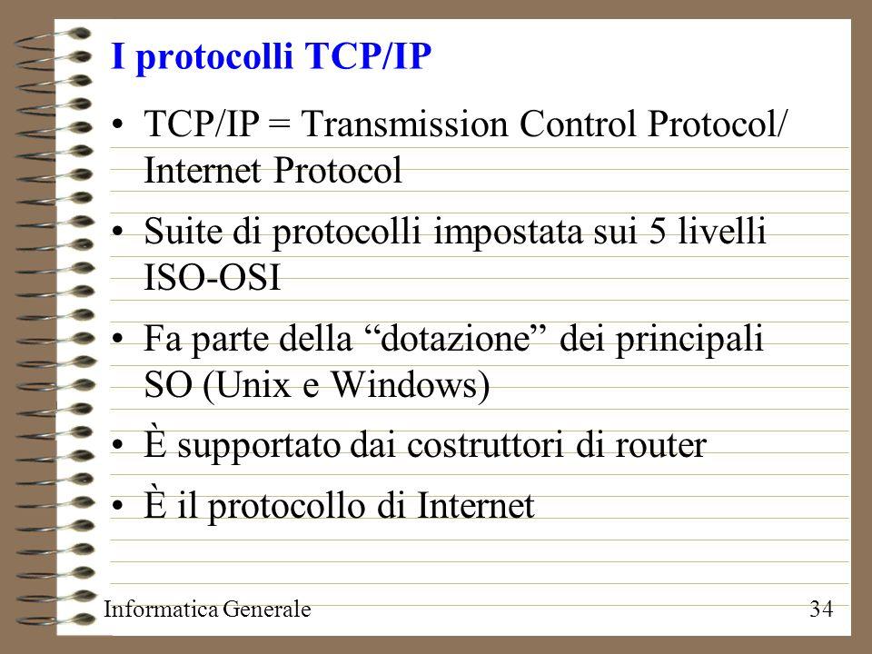 Informatica Generale34 I protocolli TCP/IP TCP/IP = Transmission Control Protocol/ Internet Protocol Suite di protocolli impostata sui 5 livelli ISO-O