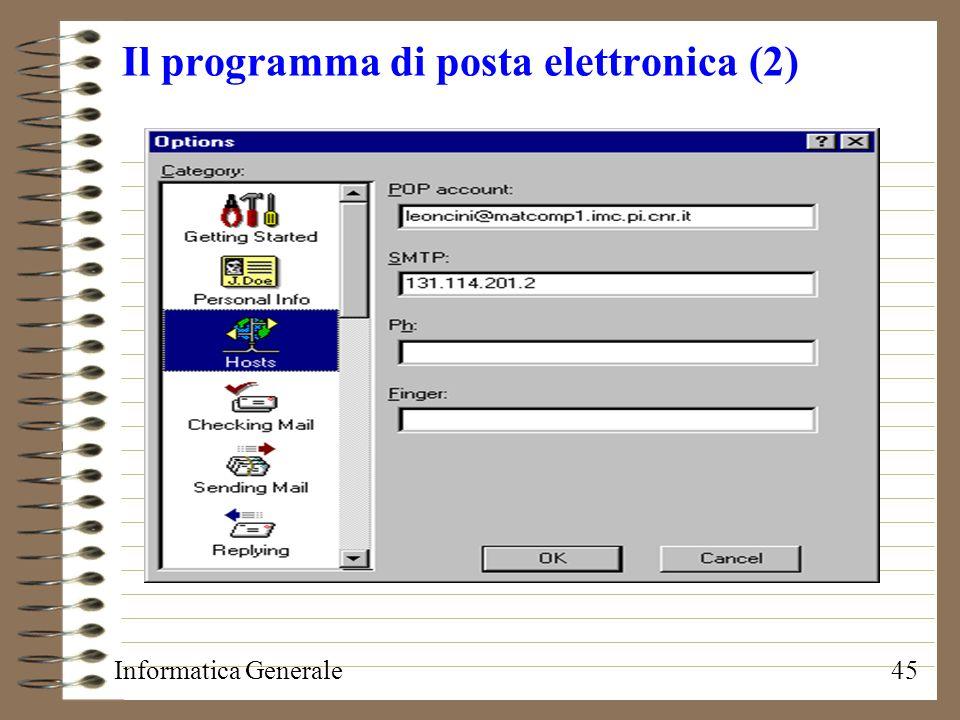 Informatica Generale45 Il programma di posta elettronica (2)