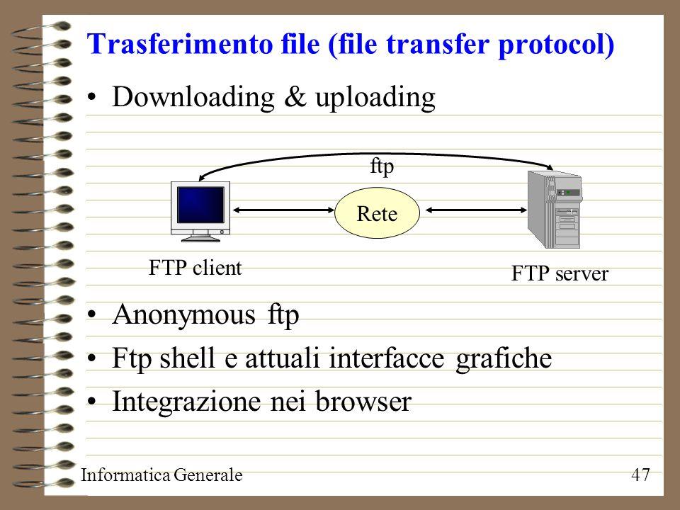 Informatica Generale47 Trasferimento file (file transfer protocol) Downloading & uploading Anonymous ftp Ftp shell e attuali interfacce grafiche Integ