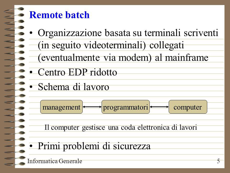 Informatica Generale5 Remote batch Organizzazione basata su terminali scriventi (in seguito videoterminali) collegati (eventualmente via modem) al mai