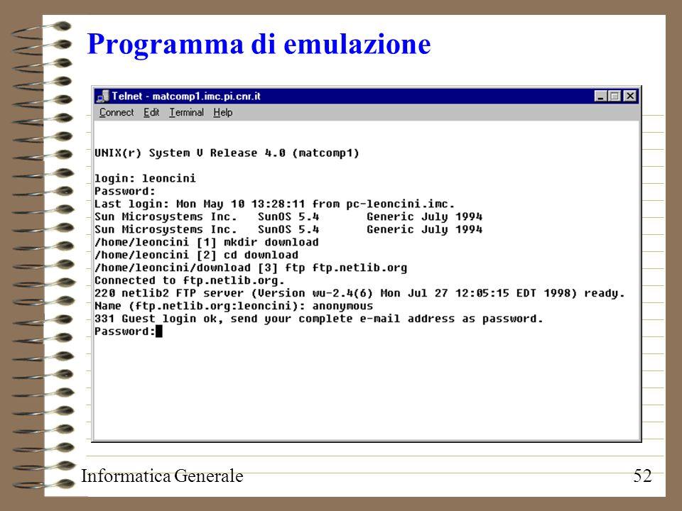Informatica Generale52 Programma di emulazione