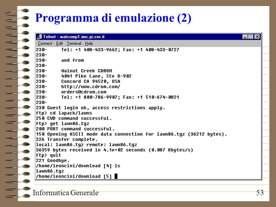 Informatica Generale53 Programma di emulazione (2)