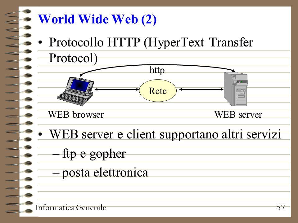 Informatica Generale57 World Wide Web (2) Rete http WEB browser Protocollo HTTP (HyperText Transfer Protocol) WEB server e client supportano altri ser