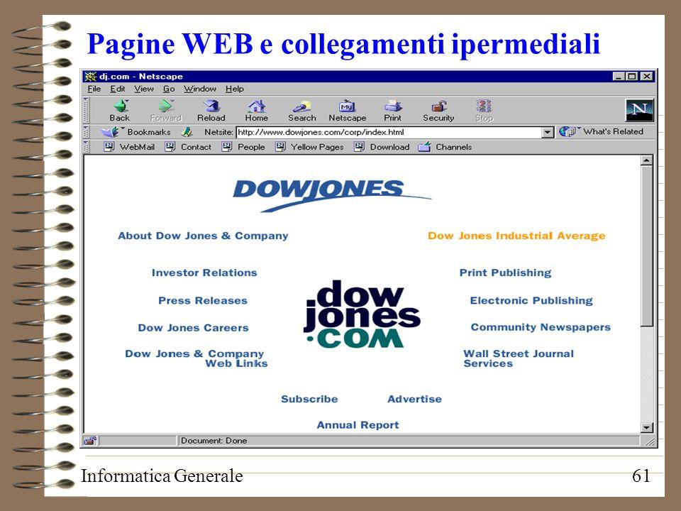 Informatica Generale61 Pagine WEB e collegamenti ipermediali