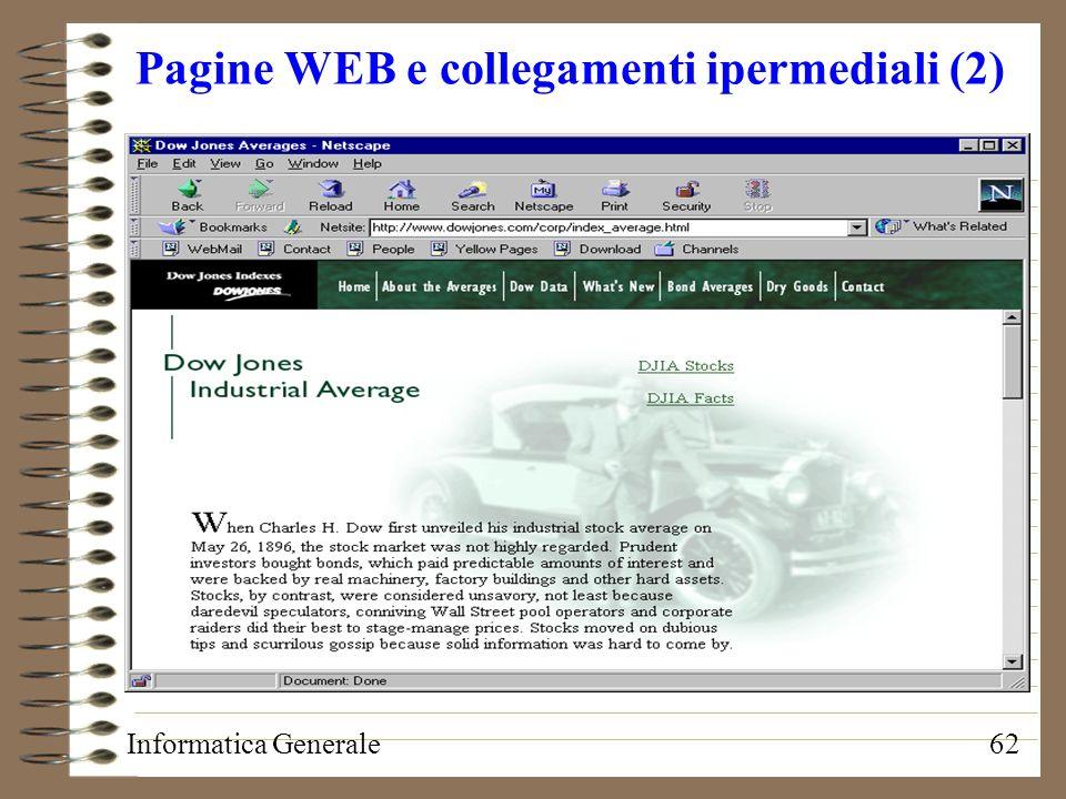 Informatica Generale62 Pagine WEB e collegamenti ipermediali (2)