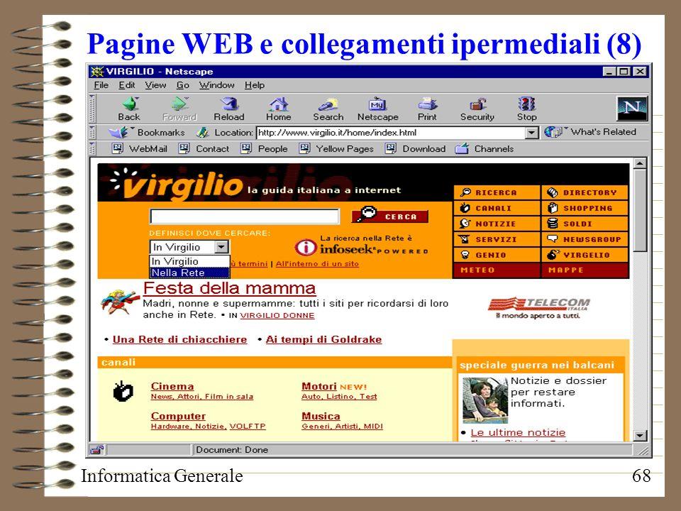 Informatica Generale68 Pagine WEB e collegamenti ipermediali (8)