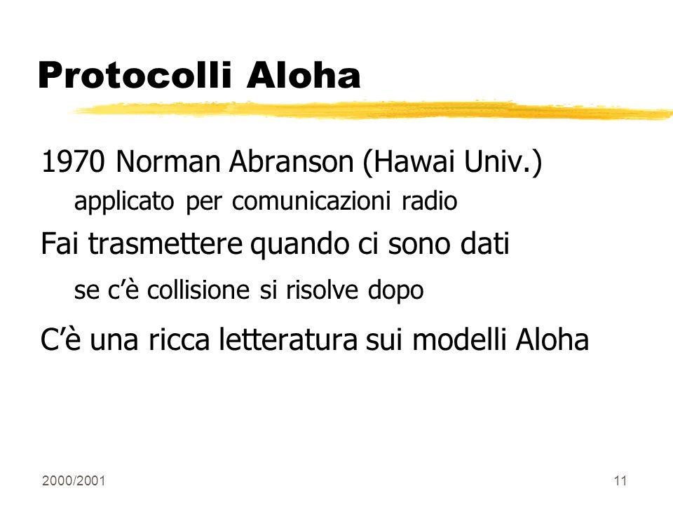 2000/200111 Protocolli Aloha 1970 Norman Abranson (Hawai Univ.) applicato per comunicazioni radio Fai trasmettere quando ci sono dati se cè collisione
