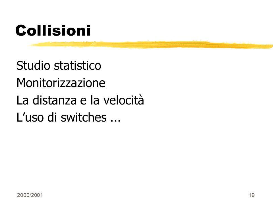 2000/200119 Collisioni Studio statistico Monitorizzazione La distanza e la velocità Luso di switches...