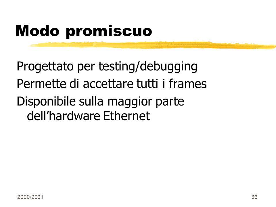 2000/200136 Modo promiscuo Progettato per testing/debugging Permette di accettare tutti i frames Disponibile sulla maggior parte dellhardware Ethernet