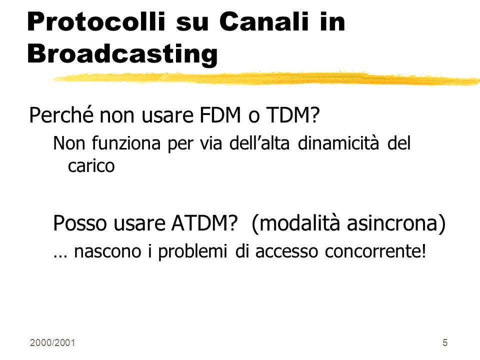 2000/20015 Protocolli su Canali in Broadcasting Perché non usare FDM o TDM? Non funziona per via dellalta dinamicità del carico Posso usare ATDM? (mod