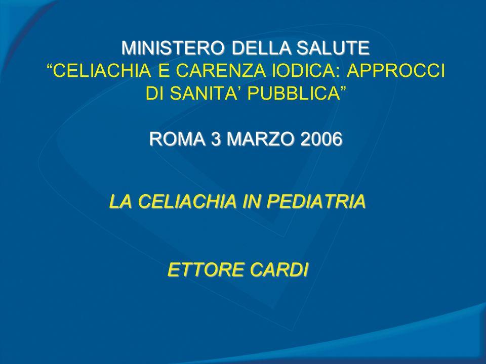 MINISTERO DELLA SALUTE ROMA 3 MARZO 2006 MINISTERO DELLA SALUTE CELIACHIA E CARENZA IODICA: APPROCCI DI SANITA PUBBLICA ROMA 3 MARZO 2006 LA CELIACHIA