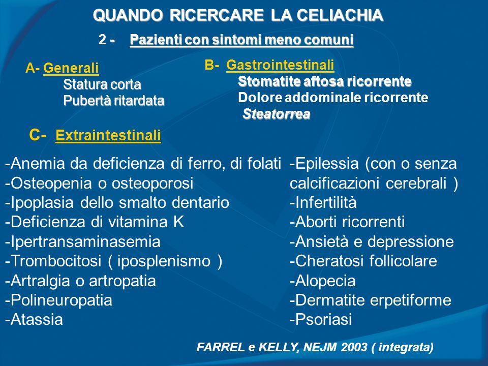 QUANDO RICERCARE LA CELIACHIA - Pazienti con sintomi meno comuni 2 - Pazienti con sintomi meno comuni A- Generali Statura corta Pubertà ritardata B- G