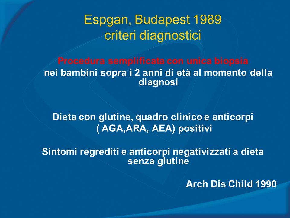 Espgan, Budapest 1989 criteri diagnostici Procedura semplificata con unica biopsia nei bambini sopra i 2 anni di età al momento della diagnosi Dieta c