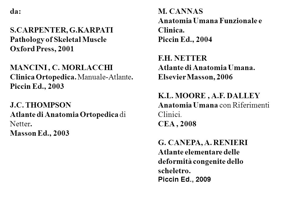 da: S.CARPENTER, G.KARPATI Pathology of Skeletal Muscle Oxford Press, 2001 MANCINI, C. MORLACCHI Clinica Ortopedica. Manuale-Atlante. Piccin Ed., 2003