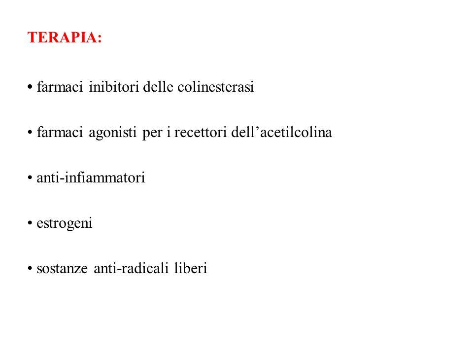 TERAPIA: farmaci inibitori delle colinesterasi farmaci agonisti per i recettori dellacetilcolina anti-infiammatori estrogeni sostanze anti-radicali li