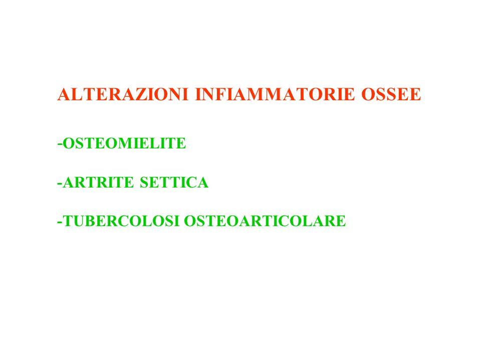 ALTERAZIONI INFIAMMATORIE OSSEE - OSTEOMIELITE -ARTRITE SETTICA -TUBERCOLOSI OSTEOARTICOLARE