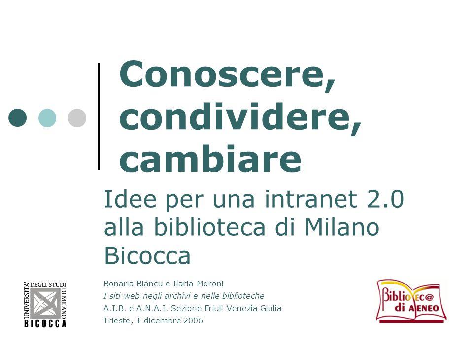 Conoscere, condividere, cambiare Idee per una intranet 2.0 alla biblioteca di Milano Bicocca Bonaria Biancu e Ilaria Moroni I siti web negli archivi e